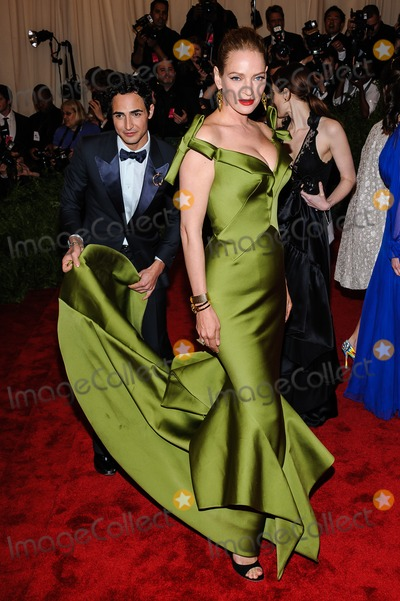 Uma Thurman Photo - 06 May 2013 - New York New York- Uma Thurman Zac Posen PUNK Chaos To Couture Costume Institute Gala held at the Metropolitan Museum of Art Photo Credit Christopher SmithAdMedia