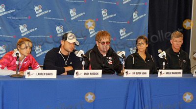 Lauren Davis Photo - 27 October 2011 - Cleveland OH - Musician SIR ELTON JOHN and his team (l to r LAUREN DAVIS ANDY RODDICK SIR ELTON JOHN AMELIE MAURESMO and MARK KNOWLES) meets for a press conference before his annual World TeamTennis Smash Hits charity night of tennis in Cleveland for the first time in the events 19-year history Tennis greats Andy Roddick Martina Navratilova John McEnroe Amelie Mauresmo Coco Vandeweghe Jan-Michael Gambill and Cleveland area native Lauren Davisjoined other top players for WTT Smash Hits presented held at Public Hall Photo Credit Jason L NelsonAdMedia