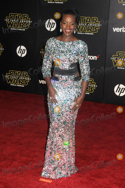 Lupita Nyongo Photo - 14 December 2015 - Hollywood California - Lupita Nyongo Star Wars The Force Awakens Los Angeles Premiere held at multiple theaters on Hollywood Blvd Photo Credit Byron PurvisAdMedia