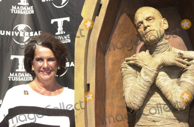 Sara Karloff Photo -  SARA KARLOFF (BORIS KARLOFFS DAUGHTER) at the unveiling of Madame Tussauds lifelike wax portraits of Dracula Frankensteins Monster and The Mummy Universal Studios 10-10-01