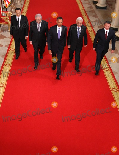 Abdullah II of Jordan Photo - RESTRICTED NEW YORKNEW JERSEY OUTNO NEW YORK OR NEW JERSEY NEWSPAPERS WITHIN A 75 MILE RADIUS OF NYC(L-R) Egyptian President Hosni Mubarak Israeli Prime Minister Benjamin Netanyahu US President Barack Obama Palestinian Authority President Mahmoud Abbas and King Abdullah II of Jordan walk toward the East Room of the White House for statements on the first day of the Middle East peace talks September 1 2010 in Washington DC The White House has kicked off a new round of direct peace talks for the Middle East the first one in more than 18 months  Photo by Alex WongsPoolCNP-PHOTOlinknet