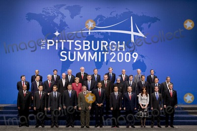 Hu Jintao Photo - Pittsburgh PA - September 25 2009 -- Leaders from the Group of 20 nations take part in a group  photo on day two of the G-20 summit in Pittsburgh Pennsylvania US on Friday September 25 2009 G-20 leaders are working on an accord to prevent a repeat of the worst global financial crisis since the Great Depression and ensure a sustained recovery G-20 leaders and summit attendees pose for a group photo during the G-20 summit Friday September 25 2009 in Pittsburgh They are from left to right from front to back South African President Kgalema Motlanthe South Korean President Lee Myung-Bak French President Nicolas Sarkozy Indonesian President Susilo Bambang Yudhoyono Brazilian President Luiz Inacio Lula de Silva President Barack Obama Chinese President Hu Jintao Mexican President Felipe Calderon Argentine President Cristina Fernandez de Kirchner Russian President Dmitry Medvedev Canadian Prime Minister Steven Harper Saudi Foreign Minister Prince Saud al-Faisal Japanese Prime Minister Yukio Hatoyama Australian Prime Minister Kevin Rudd Sweden Prime Minister John Fredrik Reinfeldt German Chancellor Angela Merkel United Kingdom Prime Minister Gordon Brown Turkish Prime Minister Recep Tayyip Erdogan Indian Prime Minister Mommohan Singh Dutch Prime Minister Jan Peter Balkenende Spanish Prime Minister Jose Luis Rodriguez Zapatero Italian Prime Minister Silvio Berlusconi EU President Jose Manuel Barroso Singapore Finance Minister Tharman Shanmugaratnam Thai Prime Minister Abhisit Bejjajiba represent ASEAN Managing director of the International Monetary Fund Dominique Strauss-Kahn Director General of the ILO Juan Somavia UN Secretary-General Ban Ki-moon World Bank President Robert Zoellick Secretary General of the OECD Angel Gurria World Trade Organization Director General Pascal Lamy Governor of the Banca dItalia Mario Draghi representing the Financial Stability Board Photo By Andrew HarrerPool-CNP-PHOTOlink