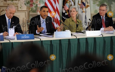 Kathleen Sebelius Photo - US President Barack Obama delivers opening remarks at a bipartisan meeting to discuss health reform legislation at the Blair House in Washington DC USA 25 February 2010 President Obama is hosting a televised health care summit with Republican and Democratic lawmakers in efforts to craft healthcare overhaul legislation  From left to right US Vice President Joseph Biden President Obama US Secretary of Health and Human Services Kathleen Sebelius and US Senate Republican Leader Mitch McConnellPhoto by Shawn ThawPool -CNP-PHOTOlinknet