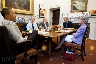 Kathleen Sebelius Photo - United States President Barack Obama has lunch with Cabinet secretaries in the Oval Office Private Dining Room March 10 2011 Attending the lunch from left are US Secretary of the Interior Ken Salazar White House Chief of Staff Bill Daley US Secretary of Agriculture Tom Vilsack and US Secretary for Health and Human Services Kathleen Sebelius Photo by Pete SouzaWhite HouseCNP-PHOTOlinknet