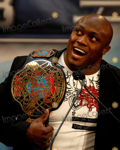 BOBBY LASHLEY Photo - Wrestler Bobby Lashley speaks at a press conference announcing the details of Wrestlemania 23 at Trump Tower