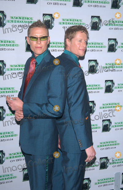 Adrian Rayment Photo - ADRIAN (left)  NEIL RAYMENT at the launch party in Los Angeles for the DVD release of The Matrix ReloadedOct 8 2003 Paul Smith  Featureflash
