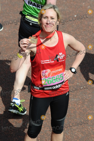 Sophie Raworth Photo - Sophie Raworth finishes the 2013 London Marathon on The Mall London 22042013 Picture by Steve Vas  Featureflash