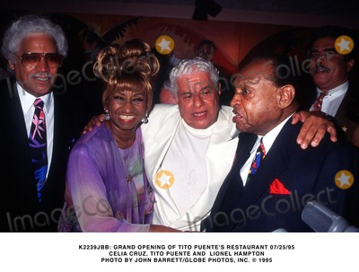 Lionel Hampton Photo -  Grand Opening of Tito Puentes Restaurant 072595 Celia Cruz Tito Puente and Lionel Hampton Photo by John BarrettGlobe Photos Inc