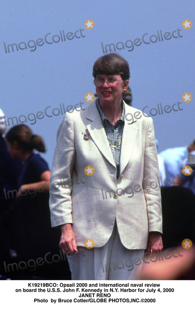 Janet Reno Photo -  Opsail 2000 and International Naval Review on Board the Uss John F Kennedy in NY Harbor For July 4 2000 Janet Reno Photo by Bruce CotlerGlobe Photosinc