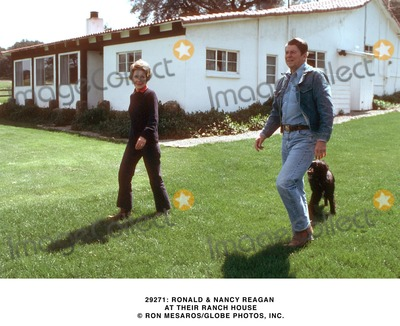 Ronald Reagan Photo -  Ronald  Nancy Reagan at Thier Ranch House Ron MesarosGlobe Photos Inc