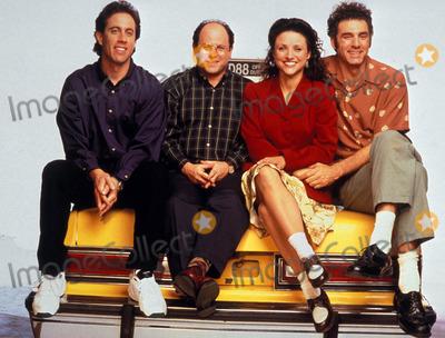 Jerry Seinfeld Photo - Seinfeld Cast Jerry Seinfeld Jason Alexander Julia Louis-dreyfus Michael Richards Tv-film Still Photo Supplied by Globe Photos