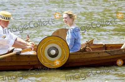 David Jones Photo - 001416SOPHIA MYLESTHUNDERBIRDS STAR CHRISTENS 21 FEET VIKING BOAT NAMED LILLE DRAKEN (LITTLE DRAGON) BUILT BY DAVID JONES  PRESIDED OVER BY ULF GREDER JARLEN (EARL OF VIKINGS  BASARKERS IN UK) IN KEEPING WITH NAVAL TRADITION REVEREND PETER MYLES (SOPHIAS FATHER) BLESSED THE BOAT BEFORE LAUNCH AT HIGH TIDE ON THE RIVER THAMES-RICHMOND BOAT HOUSES RICHMOND BRIDGE LONDON UK6-18-2005PHOTO BYGARY BARNET-GLOBELINKUK-GLOBE PHOTOS INC 2005K43778
