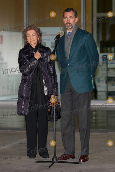 Queen Sofia of Spain Photo - 21-11-2013 Madrid Queen Sofia of Spain and Prince Felipe of Spain speak to press after their visit to King Juan Carlos of Spain at the Quiron University Hospital in Pozuelo de Alarcon Spain The Spanish King is set to undergo surgery to get a final prosthesis on his left hip The operation will be the Kings ninth in three yearsCredit PPEface to face- No Rights for Netherlands -