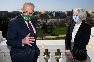 The Used Photo - United States Senate Majority Leader Chuck Schumer (Democrat of New York) poses for a photo with the new US Senate Sergeant At Arms Karen Gibson in Schumers office at the US Capitol in Washington DC on March 22 2021Credit Mandel Ngan  Pool via CNPAdMedia