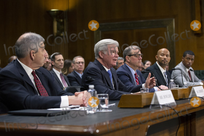 The National Photo - Mark Emmert President of the National Collegiate Athletic Association alongside Bob Bowlsby Commissioner of the Big 12 Conference Dr Douglas Girod Chancellor of the University of Kansas Ramogi Huma Executive Director of the National College Players Association and Kendall Spencer Chair of the Student-Athlete Advisory Committee testifies before the Subcommittee on Manufacturing Trade and Consumer Protection at the United States Capitol in Washington DC US on Tuesday February 11 2020  Credit Stefani Reynolds  CNPAdMedia