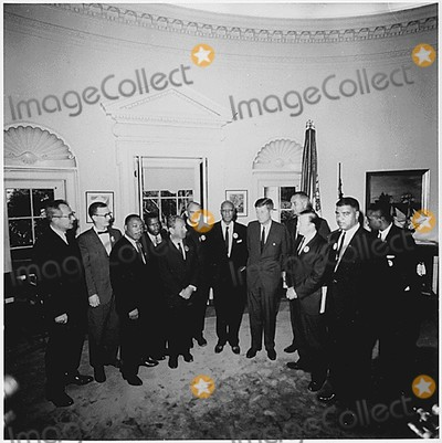 John F Kennedy Photo - Washington DC -- Photograph of the Presidents meeting with the leaders of the March on Washington on August 28 1963  Left to Right Willard Wirtz Martin Luther King Jr Eugene Carson Blake John F Kennedy Lyndon Baines Johnson Walter Reuther Others not in order A Philip Randolph John Lewis Whitney Young Mathew Ahmann Joachin Prinz Roy Wilkins Floyd McKissickCredit White House via CNPAdMedia