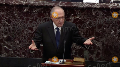 Alan Dershowitz Photo - In this image from United States Senate television Alan Dershowitz counsel to the President makes his presentation during the impeachment trial of US President Donald J Trump in the US Senate in the US Capitol in Washington DC on Monday January 27 2020Mandatory Credit US Senate Television via CNPAdMedia