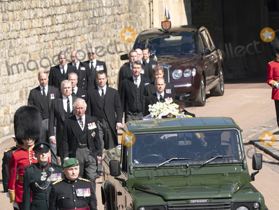 Princess Anne Photo - Photo Must Be Credited Alpha Press 073074 17042021Princess Anne Princess Royal Prince Charles Prince of Wales Prince Andrew Duke of York Prince Edward Earl of Wessex Prince William Duke of Cambridge Peter Phillips Prince Harry Duke of Sussex Earl of Snowdon Viscount Lord David Linley David Armstrong-Jones and Vice-Admiral Sir Timothy Laurence follow Prince Philip Duke of Edinburghs coffin on a modified Jaguar Land Rover during the Ceremonial Procession during the funeral of Prince Philip Duke of Edinburgh at St Georges Chapel in Windsor Castle in Windsor Berkshire No UK Rights Until 28 Days from Picture Shot Date AdMedia