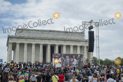 Martin Luther King Photo - The image of Martin Luther King III is seen on a monitor in the crowd as he delivers his speech during the Get Your Knee Off Our Necks March on Washington at the Lincoln Memorial in Washington DC Friday August 28 2020 Credit Rod Lamkey  CNPAdMedia