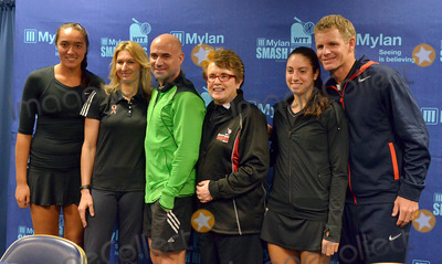 Andre Agassi Photo - 16 October 2012 - Pittsburgh PA - TEAM BILLIE JEAN (l to r SAMANTHA CRAWFORD STEFANIE GRAF ANDRE AGASSI BILLIE JEAN KING CHRISTINA McHALE and MARK KNOWLES) pose for a team photo at the Press Conference before the Mylan WTT Smash Hits World Team Tennis Match held at the Petersen Events Center The 20th anniversary edition of Mylan WTTSmash Hits presented by GEICO was one for the record books with the event posting a record 1 million for the Elton John AIDS Foundation with a portion of those proceeds benefitting the Pittsburgh AIDS Task Force Theevent hosted annually by Sir Elton John and Billie Jean King has now raised more the 115 million to support HIV and AIDS prevention and awareness programs since the first Smash Hits was held in Los Angeles in 1993  Photo Credit Jason L NelsonAdMedia