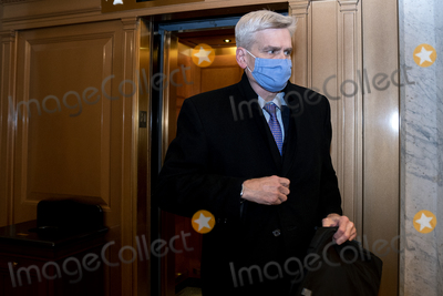 Cassidy Photo - Senator Bill Cassidy a Republican from Louisiana wears a protective mask while departing the US Capitol in Washington DC US on Saturday Feb 13 2021 Donald Trumps second impeachment trial ended in a not guilty verdict on a vote of 57-43 short of the two-thirds majority requiredCredit Stefani Reynolds - Pool via CNPAdMedia
