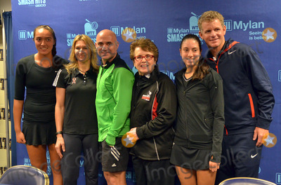 Andre Agassi Photo - 16 October 2012 - Pittsburgh PA - Team Billie Jean (l to right SAMANTHA CRAWFORD STEFANIE GRAF ANDRE AGASSI BILLIE JEAN KING CHRISTINA McHALE and MARK KOWLES) pose for a group photo at the Press Conference before the Mylan WTT Smash Hits World Team Tennis Match held at the Petersen Events Center The 20th anniversary edition of Mylan WTTSmash Hits presented by GEICO was one for the record books with the event posting a record 1 million for the Elton John AIDS Foundation with a portion of those proceeds benefitting the Pittsburgh AIDS Task Force Theevent hosted annually by Sir Elton John and Billie Jean King has now raised more the 115 million to support HIV and AIDS prevention and awareness programs since the first Smash Hits was held in Los Angeles in 1993  Photo Credit Jason L NelsonAdMedia