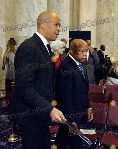 Alabama Photo - United States Senator Cory Booker (Democrat of New Jersey) left and US Representative John Lewis (Democrat of Georgia) arrive to appear on a panel testifying before the United States Senate Judiciary Committee on the nomination of US Senator Jeff Sessions (Republican of Alabama) to be Attorney General of the United States on Capitol Hill in Washington DC on Wednesday January 11 2017  Senator Booker became the first sitting senator in US history to testify against a fellow sitting senator at a cabinet confirmation hearingCredit Ron Sachs  CNPAdMedia