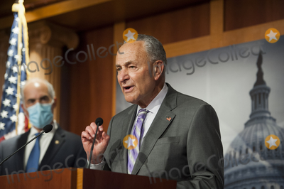 Bob Casey Photo - United States Senate Minority Leader Chuck Schumer (Democrat of New York) fields questions from reporters at the US Capitol in Washington DC Wednesday September 9 2020  Looking on at left is US Senator Bob Casey Jr (Democrat of Pennsylvania)Credit Rod Lamkey  CNPAdMedia