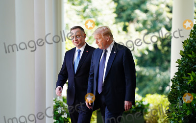 White House Photo - US President Donald J Trump (R) and Polish President Andrzej Duda arrive to hold a joint press conference in the Rose Garden of the White House in Washington DC USA 24 June 2020 Duda a conservative nationalist facing a tight re-election race back home is the first foreign leader to visit the White House in more than three monthsCredit Jim LoScalzo  Pool via CNPAdMedia