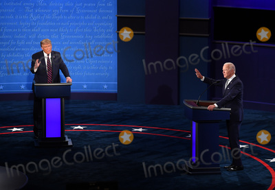Presidential Campaign Photo - United States President Donald J Trump and Democratic presidential nominee former United States Vice President Joe Biden face off in the first of three scheduled 90 minute presidential debates in Cleveland Ohio on Tuesday September 29 2020 Credit Kevin Dietsch  Pool via CNPAdMedia