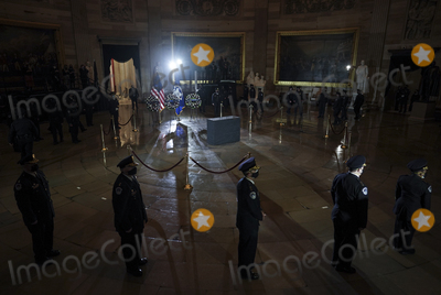 The Ceremonies Photo - WASHINGTON DC - FEBRUARY 2 As the ceremony begins US Capitol Police Officers stand in the Capitol Rotunda where fellow officer Brian D Sicknick 42 will lie in honor beginning on Tuesday evening February 2 2021 Officer Sicknick was responding to the riot at the US Capitol on Wednesday January 6 2021 when he was fatally injured while physically engaging with the mob Members of Congress will pay tribute to the officer on Wednesday morning before his burial at  Arlington National Cemetery Credit Salwan Georges  Pool via CNPAdMediaAdMedia