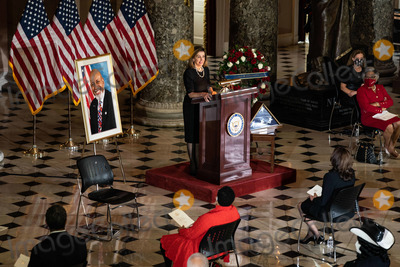 Alcee Hastings Photo - Speaker of the United States House of Representatives Nancy Pelosi (Democrat of California) speaks at a ceremony celebrating the life of the late former US Representative Alcee Hastings (Democrat of Florida) in Statuary Hall of the Capitol in Washington DC on April 21st 2021Credit Anna Moneymaker  Pool via CNPAdMedia