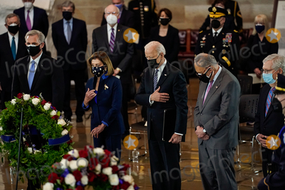 Representative Nancy Pelosi Photo - United States President Joseph R Biden Jr attends a lying in honor ceremony for US Capitol Police officer William Billy Evans on the Capitol Hill in Washington on Tuesday April 13 2021  From left to right US House Minority Leader Kevin McCarthy (Republican of California) Speaker of the US House of Representatives Nancy Pelosi (Democrat of California) President Biden US Senate Majority Leader Chuck Schumer (Democrat of New York) and US Senate Minority Leader Mitch McConnell (Republican of Kentucky)Credit Amr Alfiky  Pool via CNPAdMedia