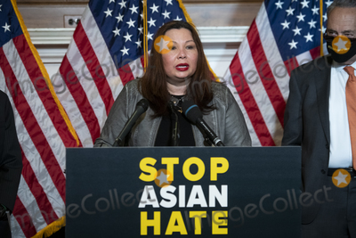 The Used Photo - United States Senator Tammy Duckworth (Democrat of Illinois) offers remarks during a press conference following Senate passage of the COVID-19 Hate Crimes Act at the US Capitol in Washington DC Thursday April 22 2021 Credit Rod Lamkey  CNPAdMedia
