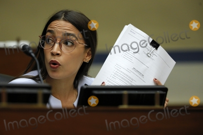 Alexandria Ocasio-Cortez Photo - United States Representative Alexandria Ocasio-Cortez (Democrat of New York) asks a question to US Postmaster General Louis DeJoy during a House Oversight and Reform Committee hearing on slowdowns at the Postal Service ahead of the November elections on Capitol Hill in Washington US August 24 2020 Credit Tom Brenner  Pool via CNPAdMedia