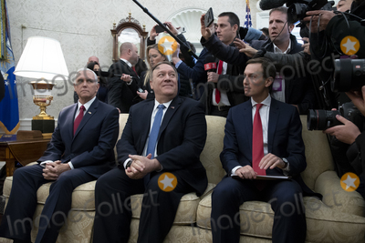Benjamin Netanyahu Photo - United States Vice President Mike Pence (L) US Secretary of State Mike Pompeo (C) and Senior Advisor to US President Trump Jared Kushner (R) sit beside members of the news media in the Oval Office during the meeting of US President Donald J Trump and Prime Minister Benjamin Netanyahu of Israel  (both not pictured) in Washington DC USA 27 January 2020 President Trump is expected to unveil a Middle East peace plan during the visit of Prime Minister Netanyahu 28 JanuaryCredit Michael Reynolds  Pool via CNPAdMedia
