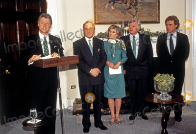 Jean Kennedy-Smith Photo - United States President Bill Clinton makes remarks as he participates in the annual presentation of a bowl of shamrocks honoring St Patricks Day with Taoiseach (Prime Minister) Albert Reynolds of Ireland in the Roosevelt Room of the White House in Washington DC on March 17 1993 During his remarks President Clinton announced he was naming Jean Kennedy Smith as US Ambassador to Ireland  From left to right President Clinton Prime Minister Reynolds Jean Kennedy Smith US Senator Ted Kennedy (Democrat of Massachusetts) and US Representative Joseph P Kennedy II (Democrat of Massachusetts)Credit Martin H Simon  Pool via CNPAdMedia