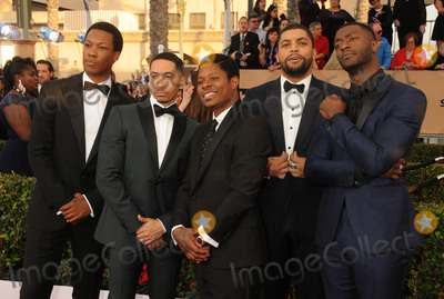 Aldis Hodge Photo - 30 January 2016 - Los Angeles California - Neil Brown Jr Jason Mitchell OShea Jackson Jr Aldis Hodge 22nd Annual Screen Actors Guild Awards held at The Shrine Auditorium Photo Credit Byron PurvisAdMedia