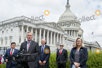House Speaker Nancy Pelosi Photo - House Minority Leader Rep Kevin McCarthy (R-Calif) holds a media availability with House Minority Whip Rep Steve Scalise (R-LA) House GOP Conference Chairwoman Liz Cheney (R-WY) and others to announce that Republican leaders have filed a lawsuit against House Speaker Nancy Pelosi and congressional officials in an effort to block the House of Representatives from using a proxy voting system to allow for remote voting during the coronavirus pandemic outside of the US Capitol in Washington DC Wednesday May 27 2020 Credit Rod Lamkey  CNPAdMedia
