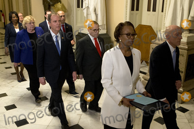 Adam Schiff Photo - United States House Sergeant at Arms Paul Irving and Clerk of the US House Cheryl Johnson deliver the articles of impeachment against US President Donald J Trump to the Secretary of the US Senate Julie Adams on Capitol Hill in Washington DC Wednesday January 15 2020 Following are impeachment managers US Representative Jerrold Nadler (Democrat of New York) Chairman US House Judiciary Committee US Representative Adam Schiff (Democrat of California) Chairman US House Permanent Select Committee on Intelligence US Representative Hakeem Jeffries (Democrat of New York) US Representative Sylvia Garcia (Democrat of Texas) US Representative Val Demings (Democrat of Florida) US Representative Zoe Lofgren (Democrat of California) and US Representative Jason Crow (Democrat of Colorado)Credit Jose Luis Magana  Pool via CNPAdMedia