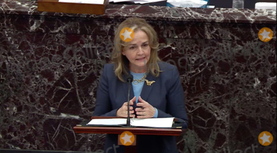 The Used Photo - In this image from United States Senate television US Representative Madeleine Dean (Democrat of Pennsylvania) Manager on the Part of the US House makes his closing argument during Day 5 of the second impeachment trial of the former president in the US Senate in the US Capitol in Washington DC on Saturday February 13 2021Mandatory Credit US Senate TV via CNPAdMedia