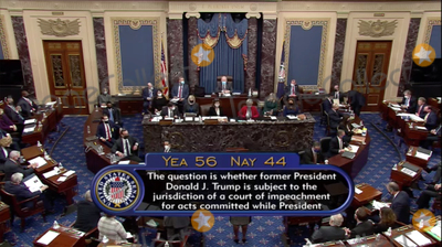 44 Photo - In this image from United States Senate television the result of the vote on the question of whether former US President Donald J Trump is subject to the jurisdiction of a court of impeachment for acts committed while President during the second impeachment trial in the US Senate in the US Capitol in Washington DC on Tuesday February 9 2021  The vote was 56 in favor and 44 againstMandatory Credit US Senate TV via CNPAdMedia