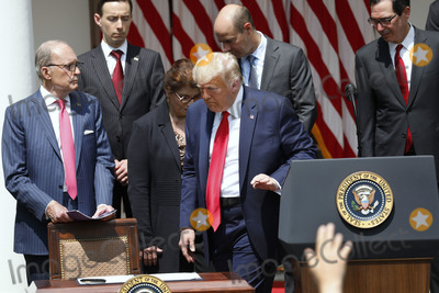 The National Photo - United States President Donald J Trump leaves the podium to sign HR 7010 - PPP Flexibility Act of 2020 in the Rose Garden of the White House in Washington on June 5 2020 Pictured behind the president from left to right Director of the National Economic Council Larry Kudlow Tyler Goodspeed member of Council of Economic Advisers Jovita Carranza administrator US Small Business Administration (SBA) US Secretary of Labor Eugene Scalia and US Secretary of the Treasury Steven T MnuchinCredit Yuri Gripas  Pool via CNPAdMedia