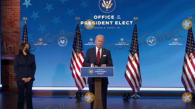 Queen Photo - United States President-elect Joe Biden makes remarks on his plan to administer COVID-19 vaccines to the US population from the Queen Theatre in Wilmington Delaware on Friday January 15 2021 United States Vice President-elect Kamala Harris looks on from leftCredit Biden Transition TV via CNPAdMedia