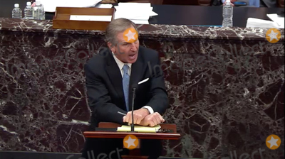 The Used Photo - In this image from United States Senate television Michael van der Veen attorney for former US President Donald J Trump makes his case against calling witnesses during Day 5 of the second impeachment trial of the former president in the US Senate in the US Capitol in Washington DC on Saturday February 13 2021Mandatory Credit US Senate TV via CNPAdMedia
