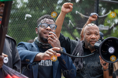 Black Panther Photo - A speaker with the new Black Panther party speaks in front of the White House during a march against police brutality and racism in Washington DC on Saturday June 6 2020Credit Amanda Andrade-Rhoades  CNPAdMedia