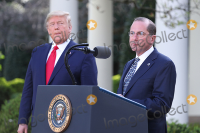 Alex Azar Photo - US President Donald J Trump (L) and Secretary of Health and Human Services Alex Azar during the Coronavirus Task Force press briefing on the coronavirus and COVID-19 pandemic in the Rose Garden at the White House in Washington DC USA 30 March 2020Credit Michael Reynolds  Pool via CNPAdMedia