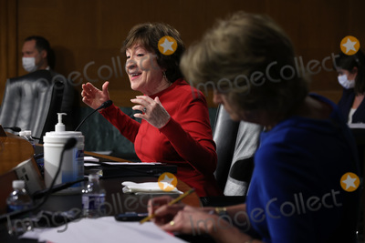 Pete Buttigieg Photo - WASHINGTON DC - APRIL 20 United States Senate Appropriations Committee member US Senator Susan Collins (Republican of Maine) questions members of the Biden administration during a hearing in the Dirksen Senate Office Building on Capitol Hill on April 20 2021 in Washington DC Biden cabinet members including Transportation Secretary Pete Buttigieg testified about the American Jobs Plan the administrations 23 trillion infrastructure plan that has yet to win over a single Republican in Congress Credit Chip Somodevilla   Pool via CNP