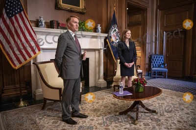 The Used Photo - Amy Coney Barrett United States President Donald Trumps nominee for associate justice of the US Supreme Court meets with US Senator James Lankford (Republican of Oklahoma) at the US Capitol in Washington DC US on Wednesday October 21 2020 The Senate is expected to vote on Barretts nomination early next weekCredit Sarah Silbiger  Pool via CNPAdMedia