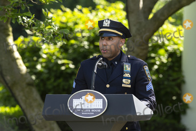 Police Officer Photo - Spencer Garrett New York City Police Officer delivers remarks during a Presidential Recognition Ceremony on Hard Work Heroism and Hope with United States President Donald J Trump in the Rose Garden of the White House in Washington DC US on Friday May 15 2020  Credit Stefani Reynolds  CNPAdMedia